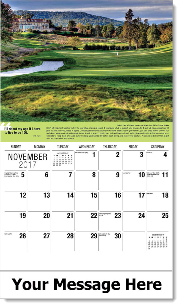 Golf Tips Promotional CalendarNovember 2017Keswick Hall Estate & Club ...