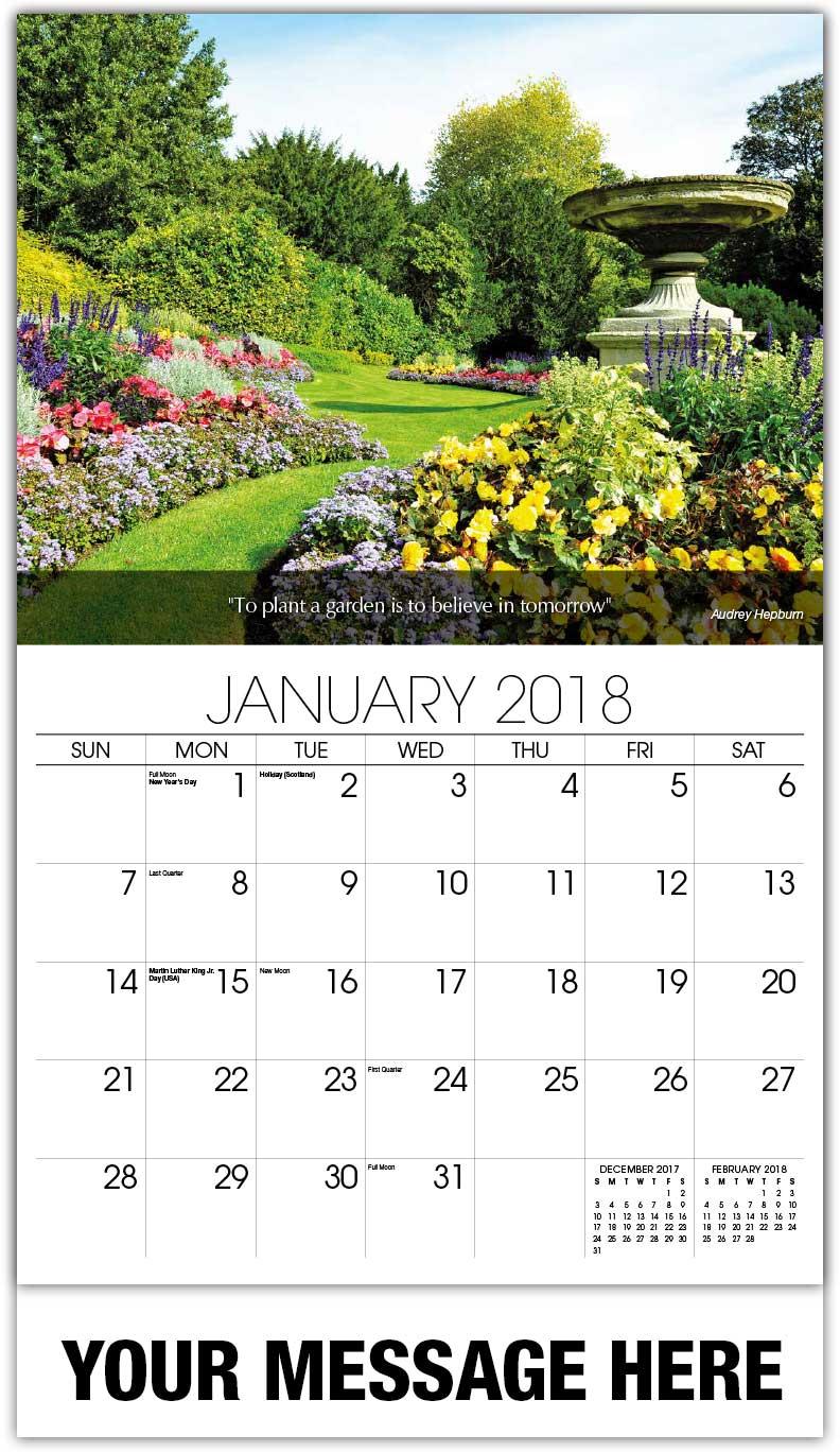 Flowers and gardens promo calendar 65 business for Gardening 2018 calendar