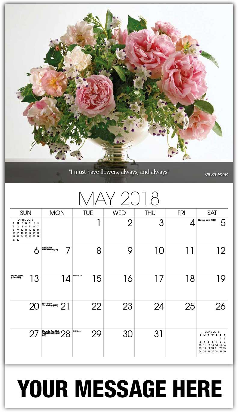 Calendar Flowers : Flowers and gardens promo calendar ¢ business