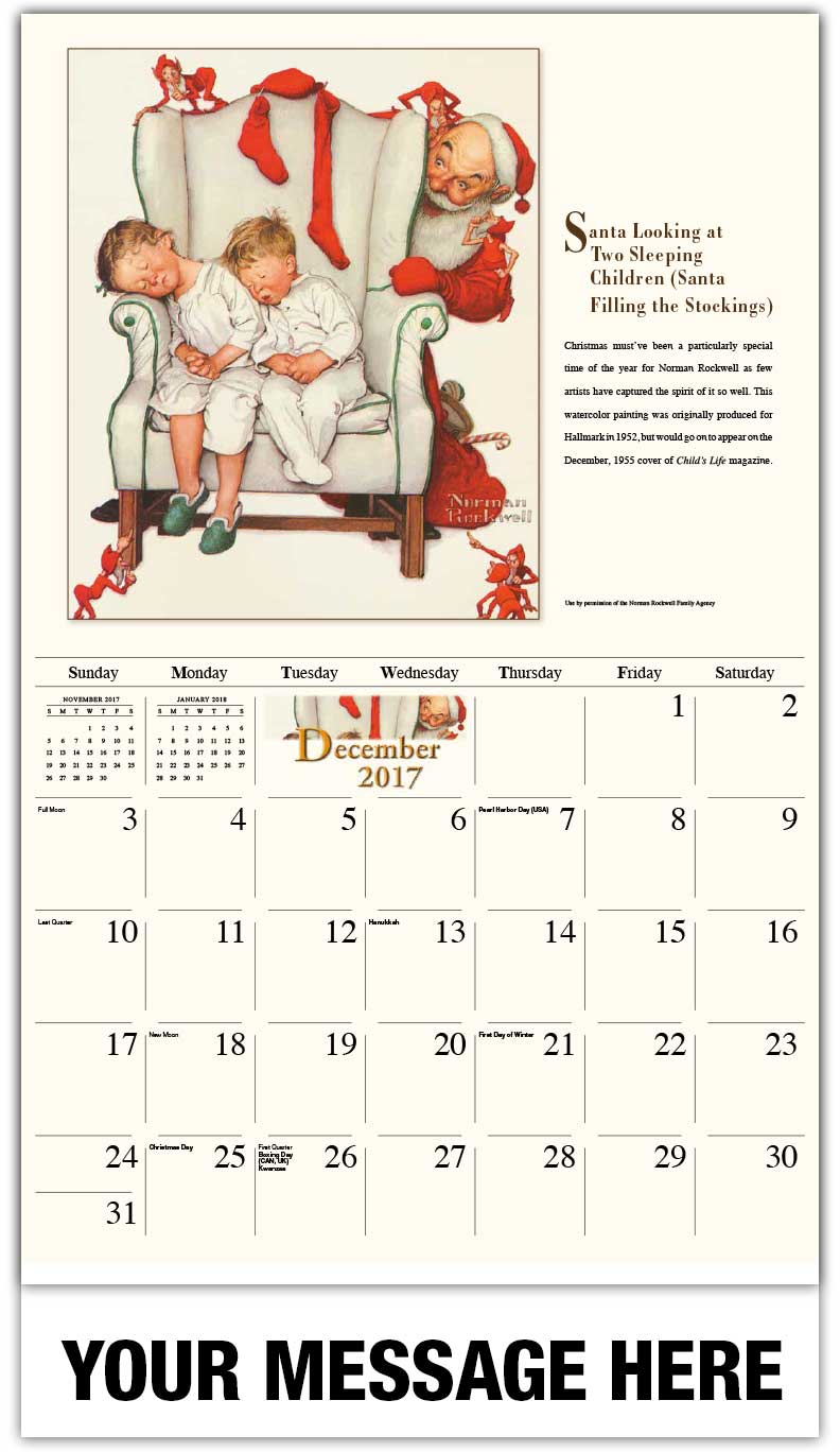 Art Calendar Magazine : Norman rockwell art calendar ¢ promotional wall calendars