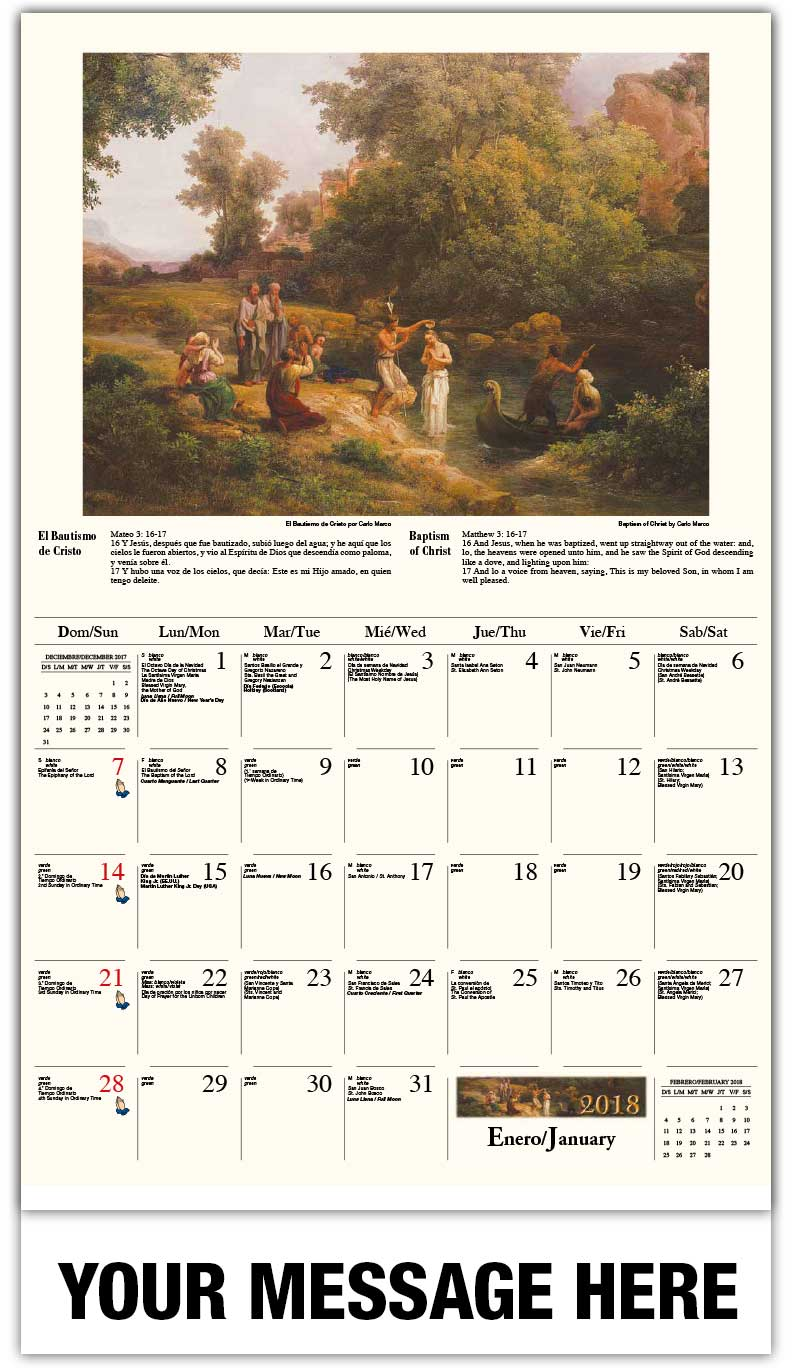 2018 Spanish-English Promotional Wall Calendars - Descanso durante la huida a Egipto / Baptism Of Christ - January