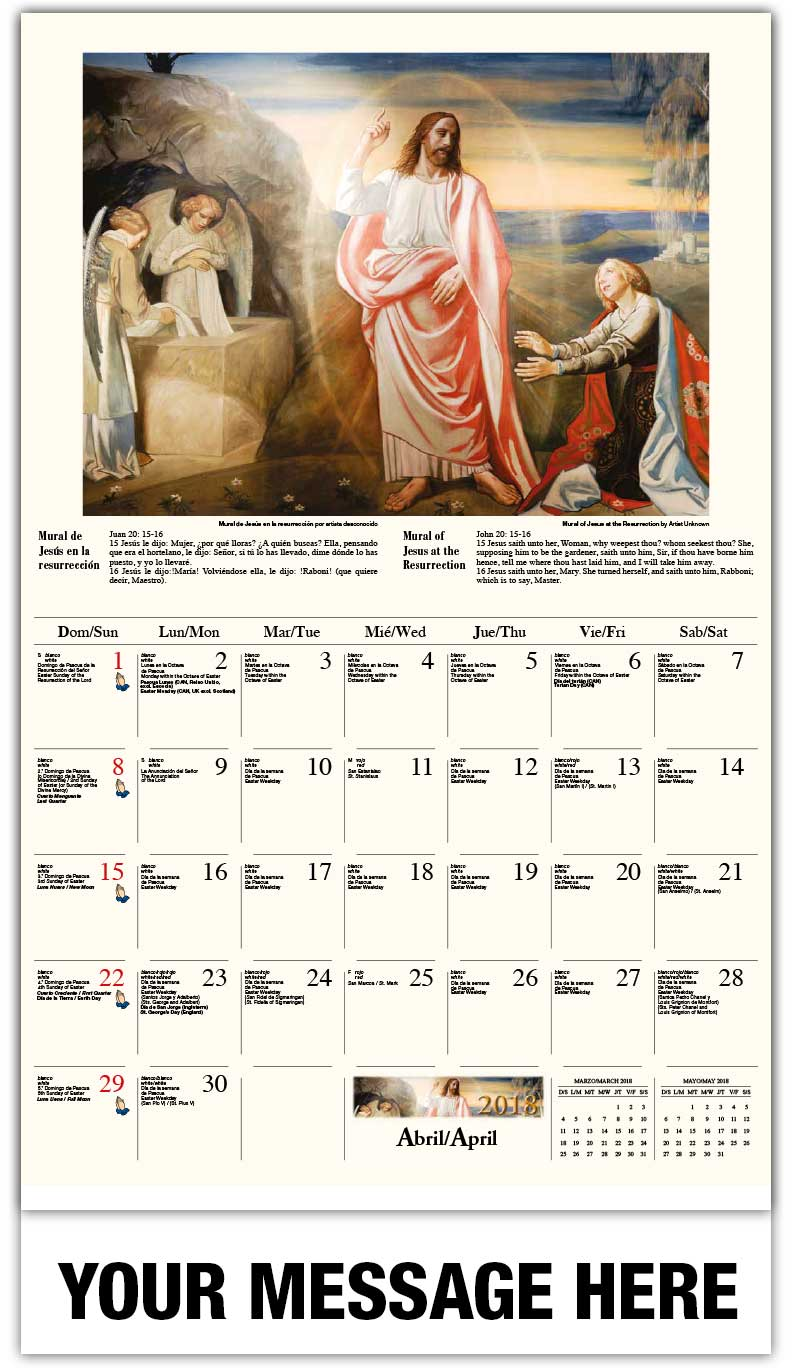 2018 Spanish-English Promotional Calendars - Cristo y Simón el Cireneo / Mural Of Jesus At The Resurrection  - April