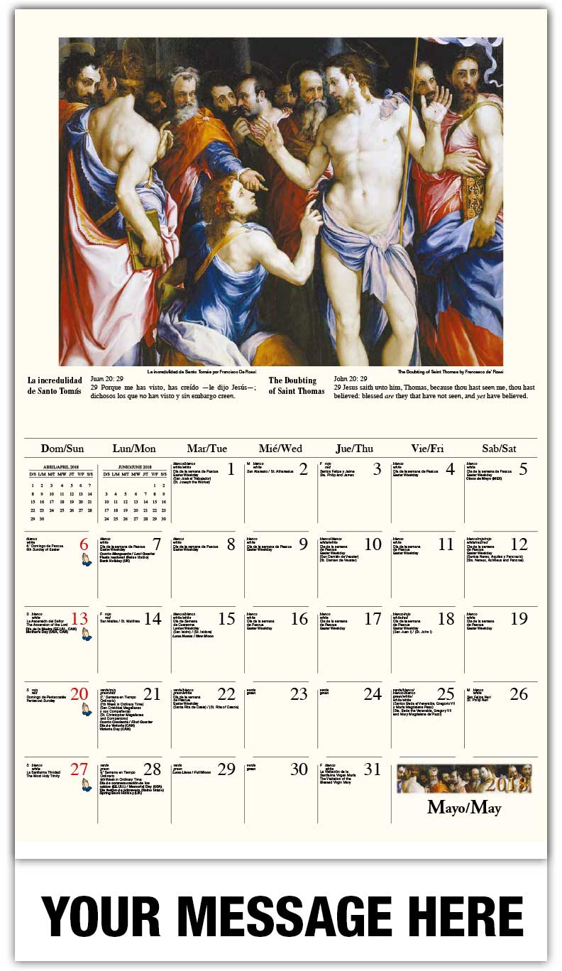 2018 Spanish-English Promotional Calendars - Ascensión de Cristo / The Doubting Of Saint Thomas  - May