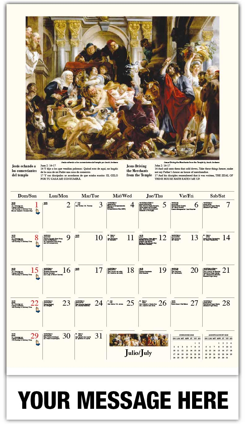 Spanish-English Promotional Calendars 2018 - Curación de la hemorroísa / Jesus Driving The Merchants From The Temple  - July