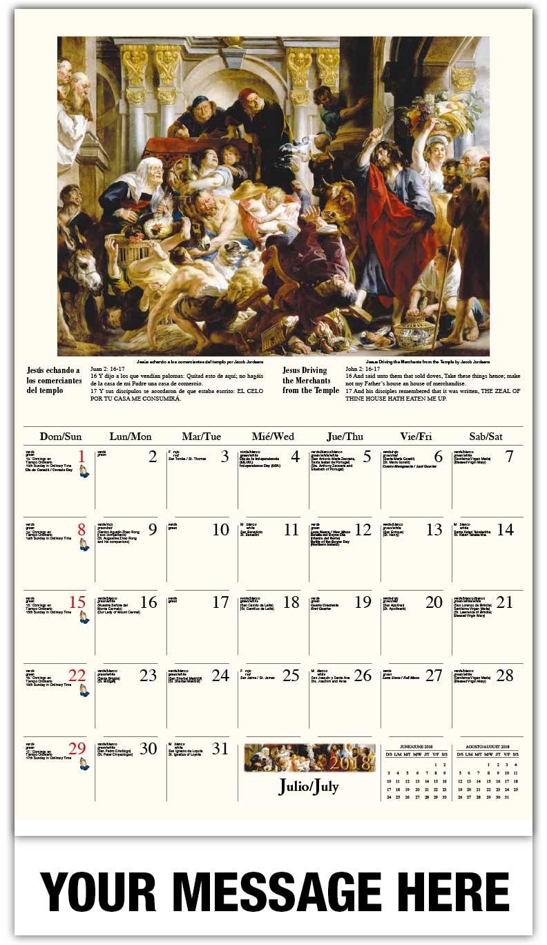 2018 calendar religious art