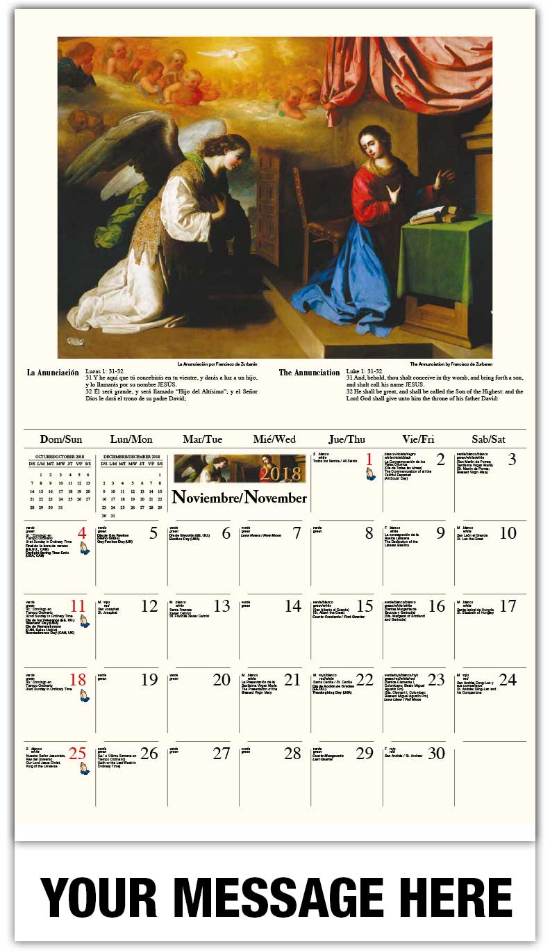 Spanish-English Promo Calendars 2018 - La Anunciación / The Annunciation - November