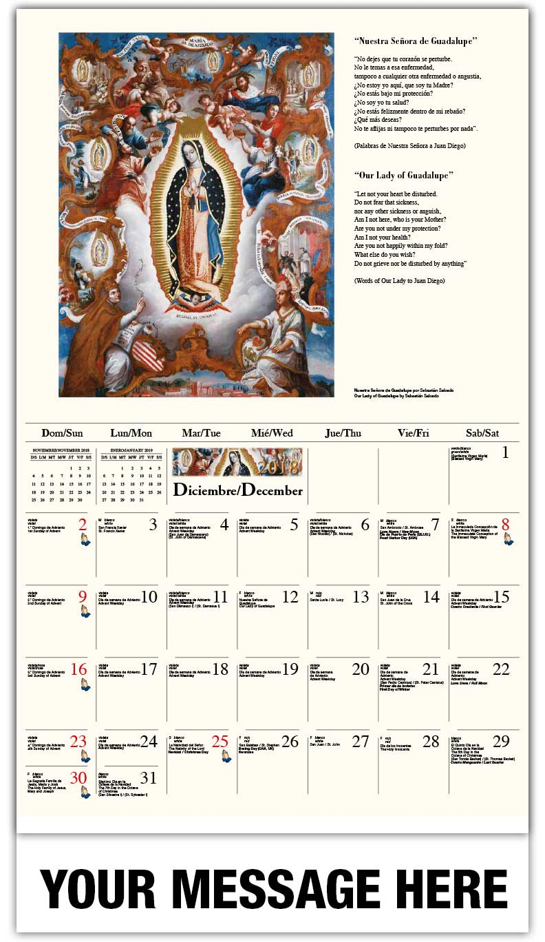Spanish-English Promo Calendars 2018 - Adoración de los pastores / Our Lady Of Guadalupe  - December_2018
