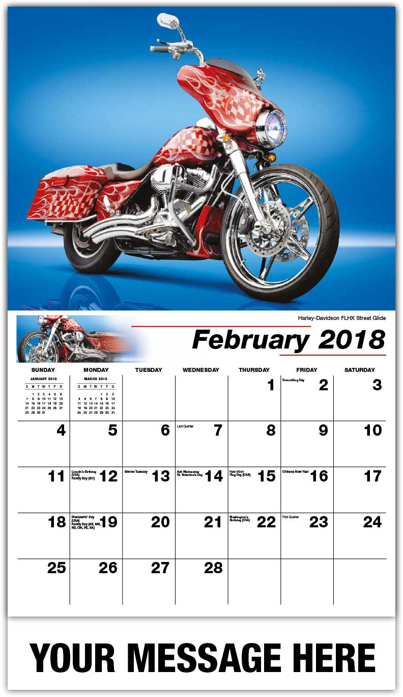 Promotional Wall Calendars 2018 - Harley-Davidson Flhx Street Glide  - February