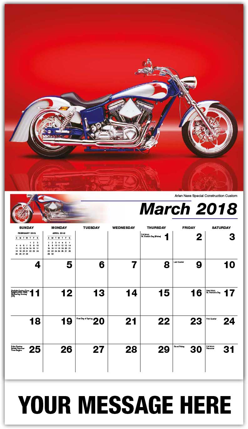 Promotional Wall Calendars 2018 - Arlen Ness Special Construction Custom - March
