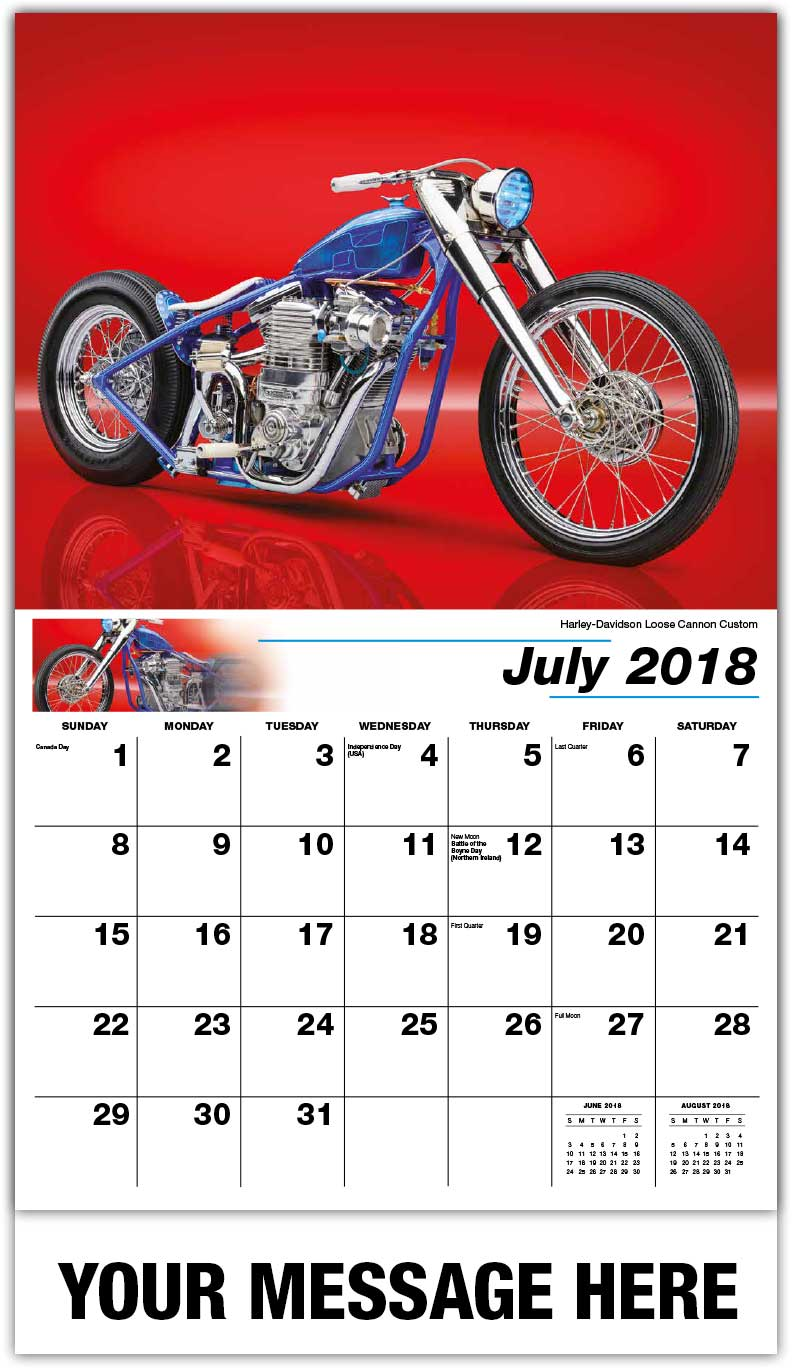 Promotional Calendars 2018 - Harley-Davidson Loose Cannon Custom  - July