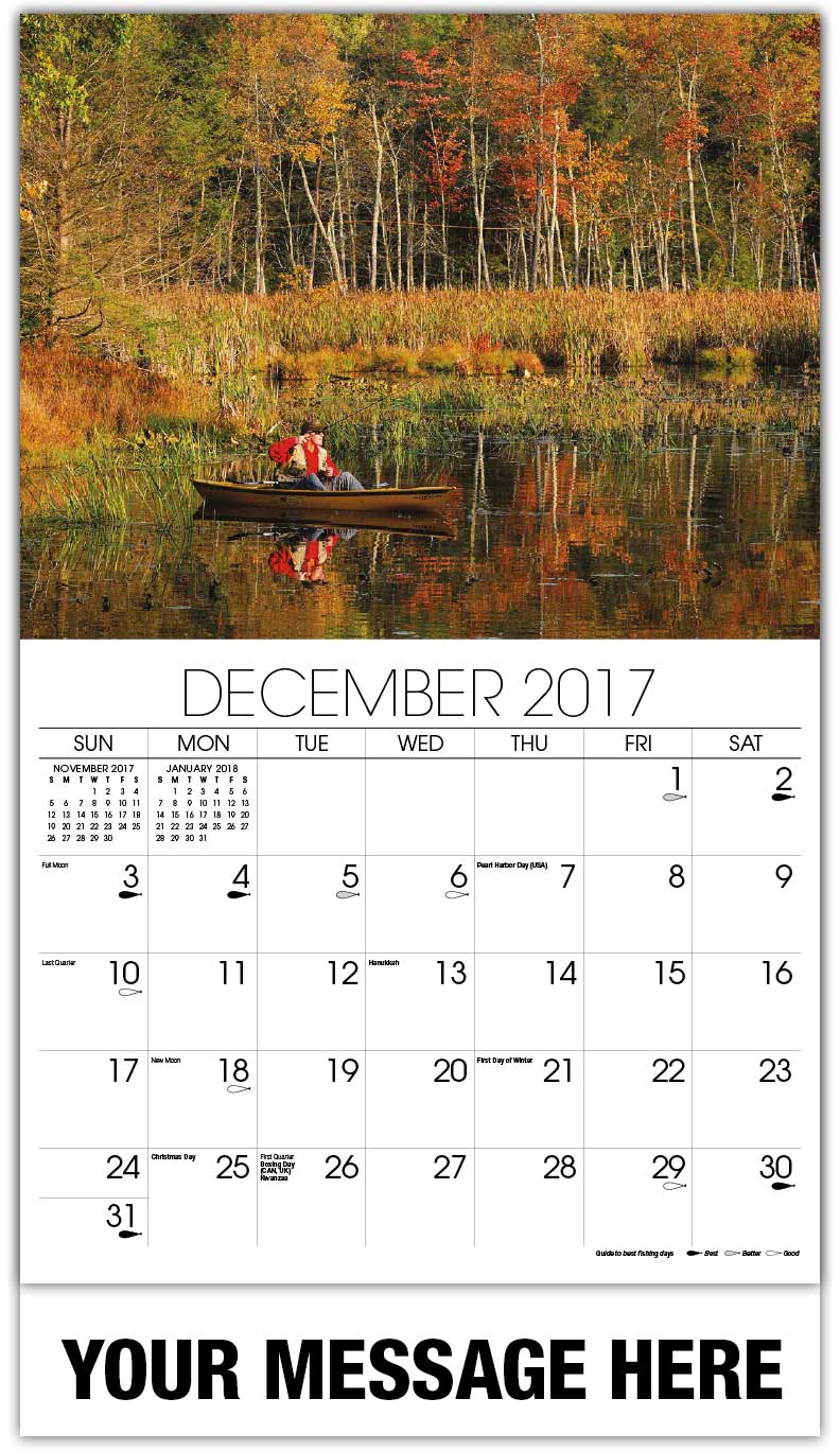 2018 Promotional Wall Calendars - Fisher In Boat In Autumn  - December_2017