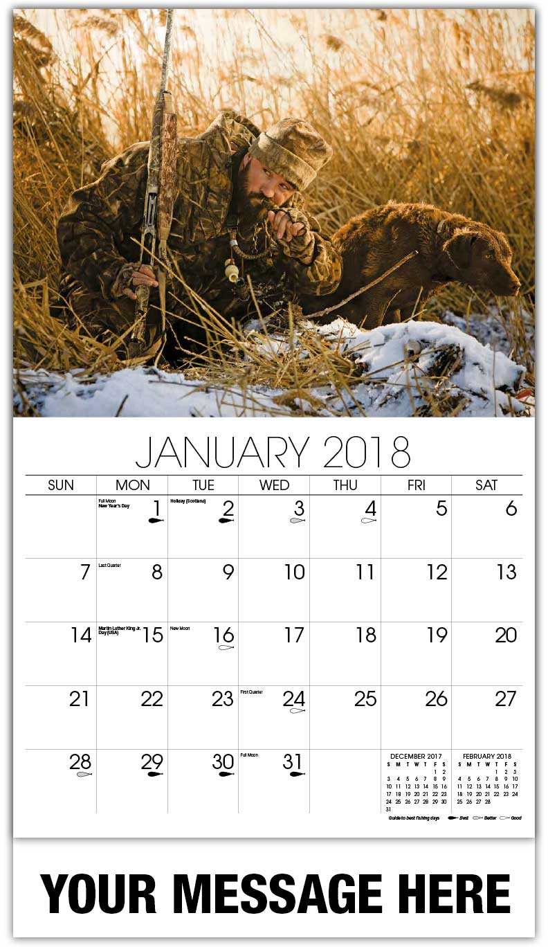 2018 Promotional Wall Calendars - Man With Dog Using Duck Whistle - January