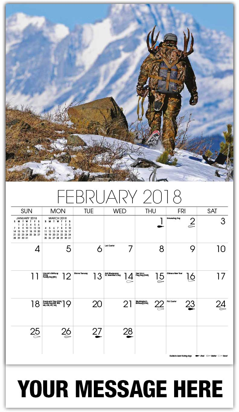 Promotional Wall Calendars 2018 - Man With Rack Hunting In Mountains - February