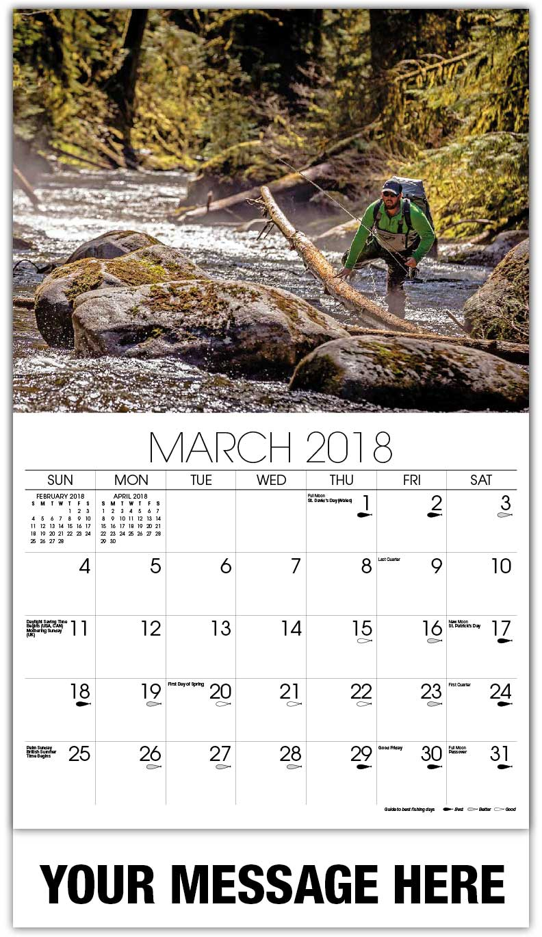 Promotional Wall Calendars 2018 - Fly Fishing In The Woods - March