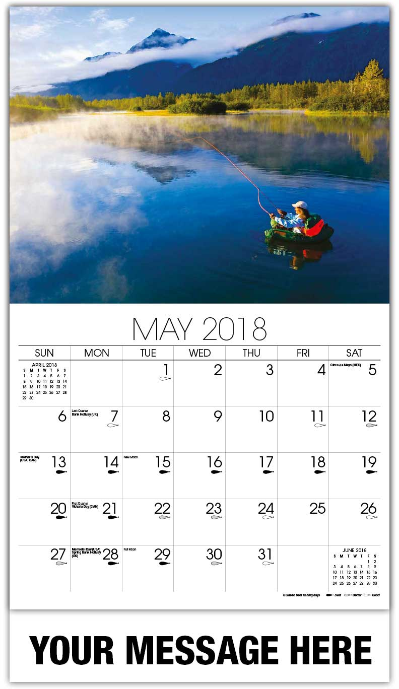 2018 Promotional Calendars - Person Floating In Lake Fishing - May