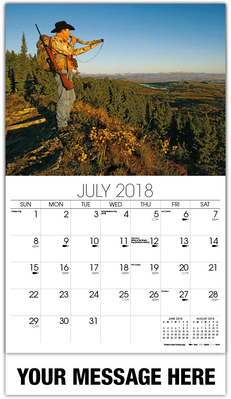 Promotional Calendars 2018 - Hunter Blowing Horn On Mountain - July