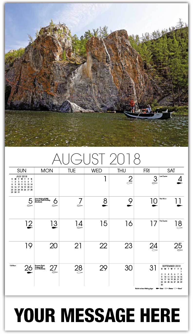 Promotional Calendars 2018 - Fly Fishing From Boat - August