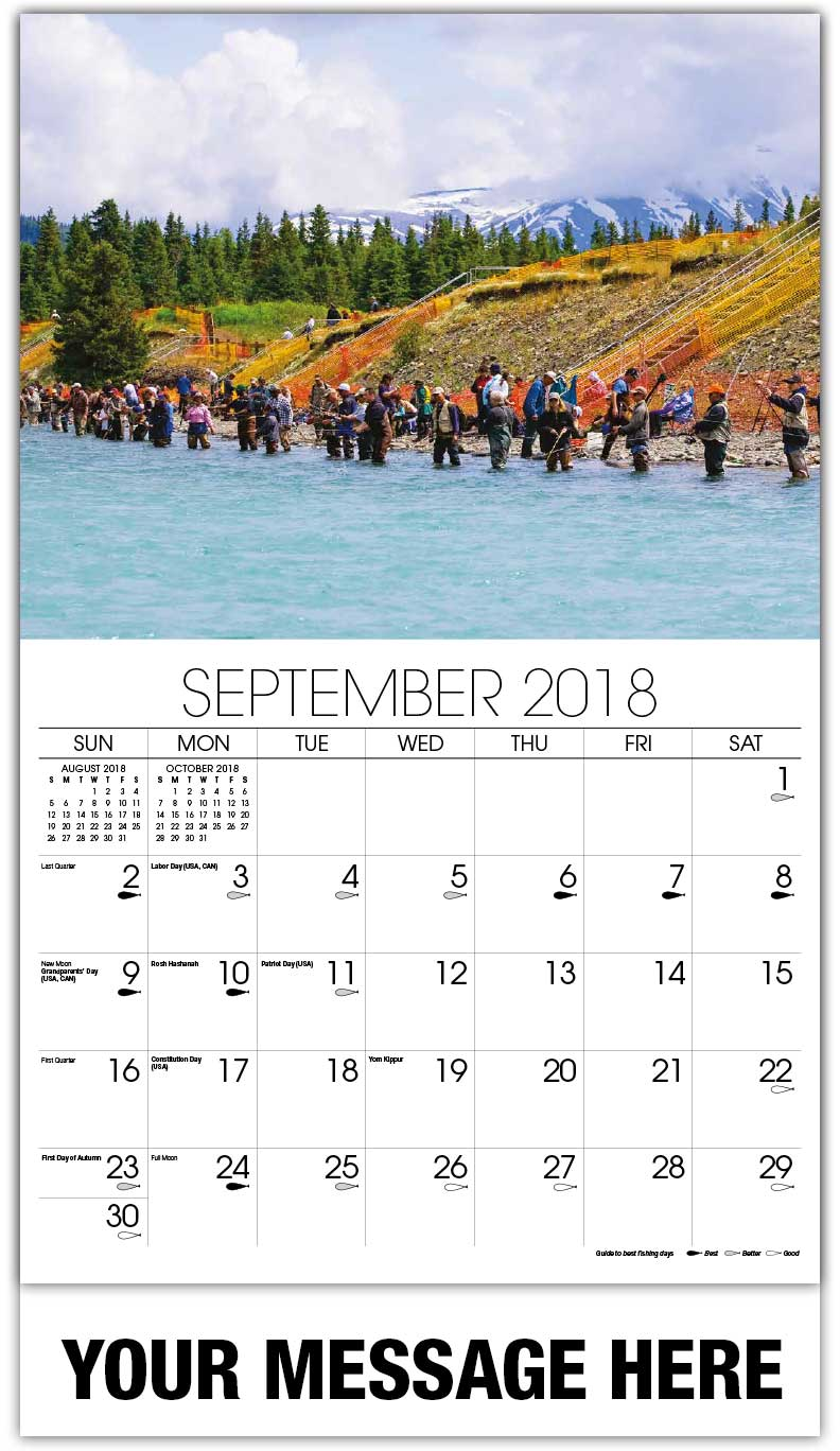 2018 Promo Calendars - Row Of People Fishing In River - September