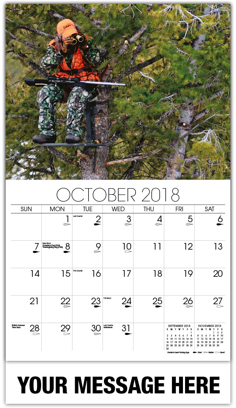 2018 Promo Calendars - Hunter In Tree Stand - October