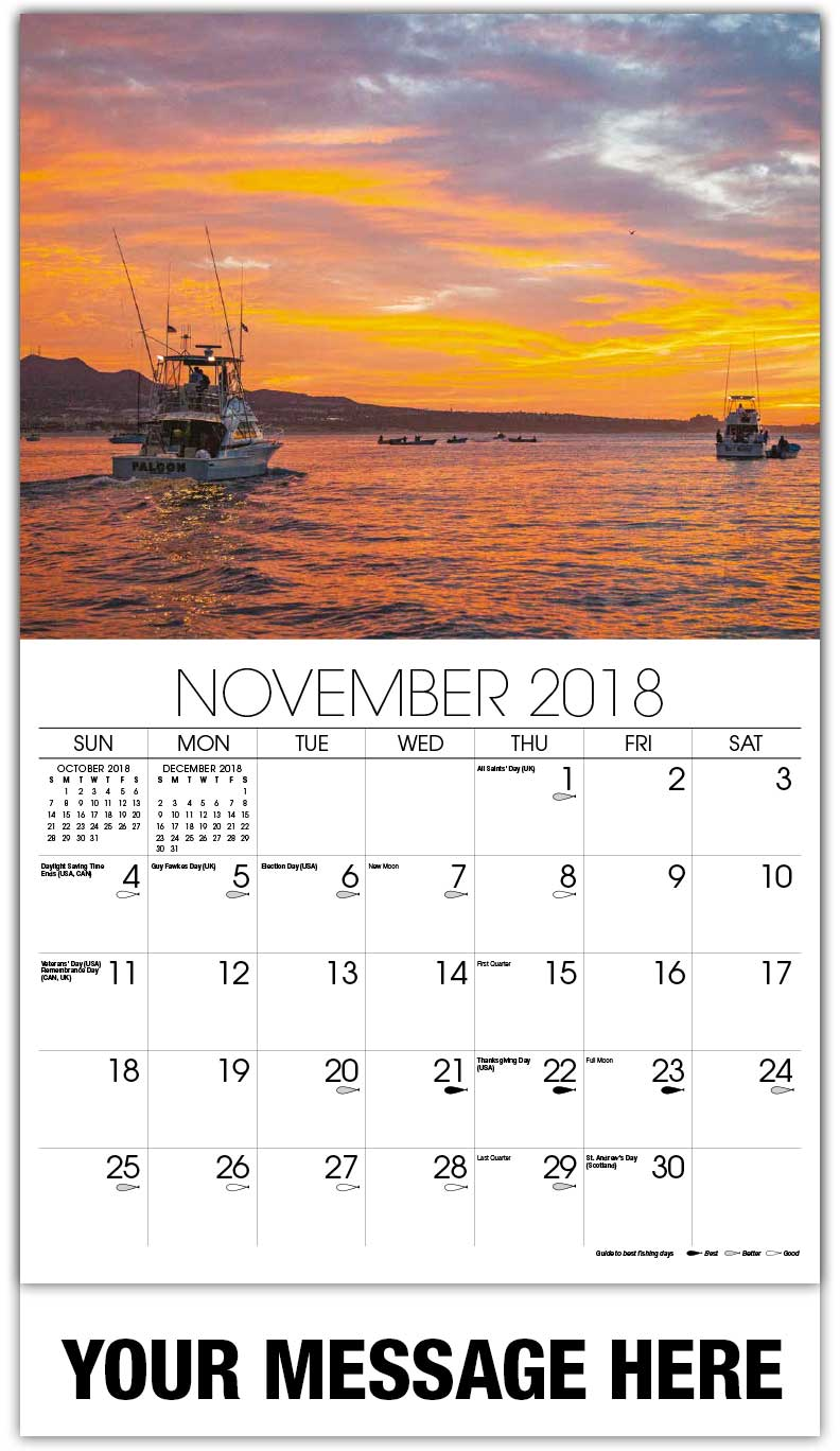 2018 Promo Calendars - Fishing Boats At Sunset - November