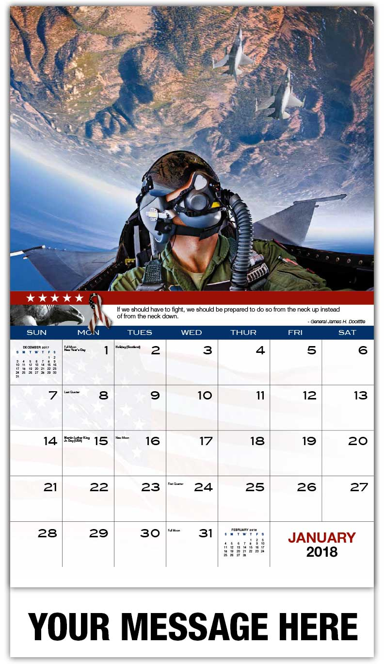 2018 Promotional Wall Calendars - Upside Down F-16 Pilot - January