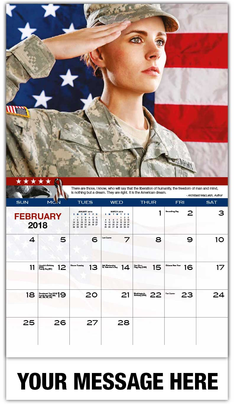 Promotional Wall Calendars 2018 - Female Soldier Saluting - February