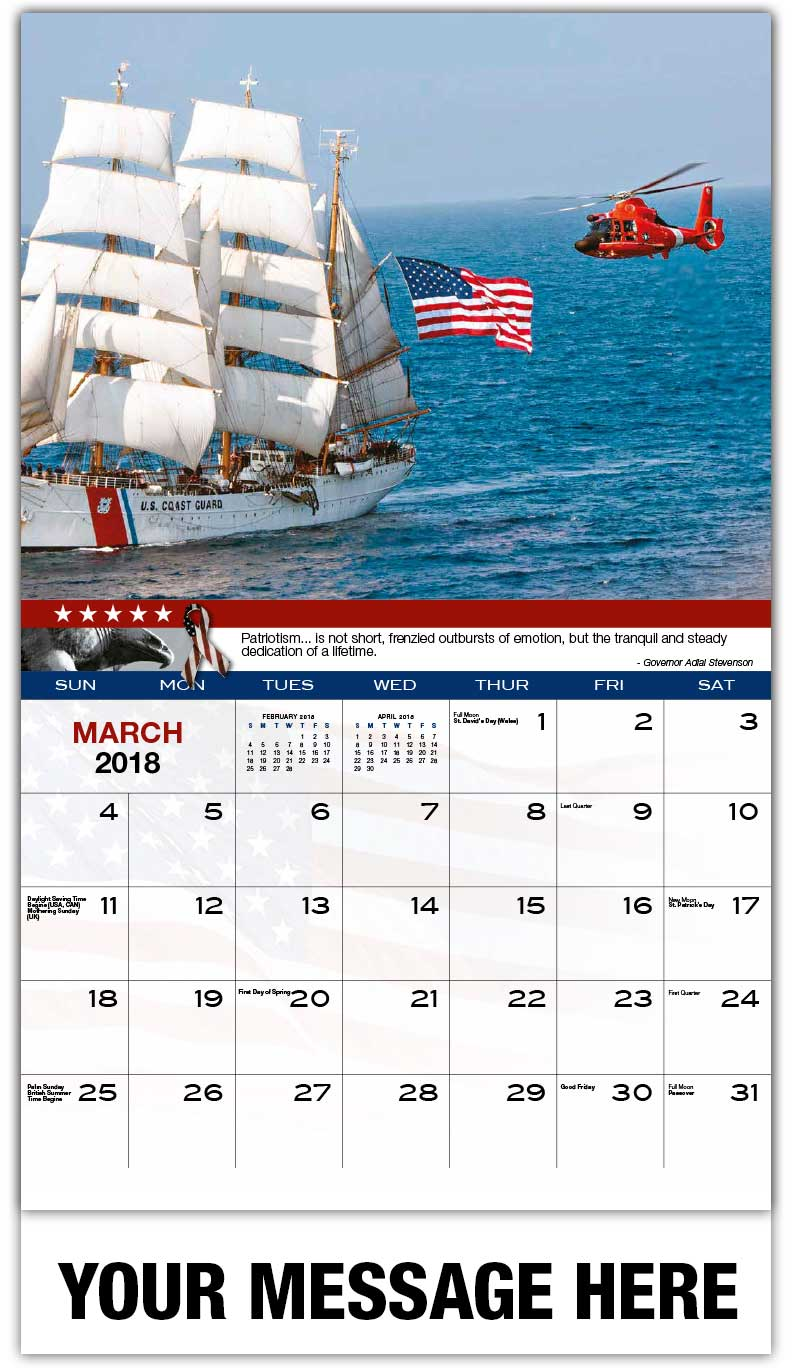 Promotional Wall Calendars 2018 - Coast Guard Sailing Ship/Helicopter - March
