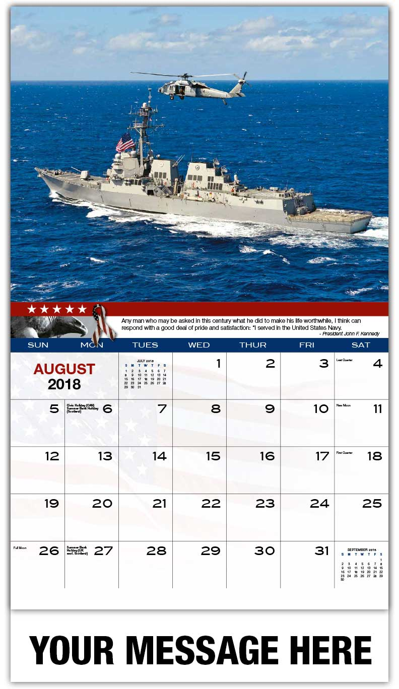 Promotional Calendars 2018 - Navy Destroyer With Helicopter - August