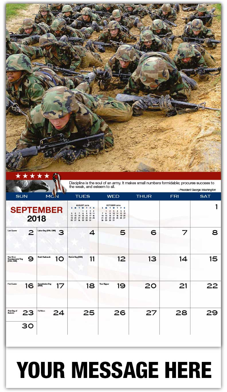 2018 Promo Calendars - Recruits Crawling In Basic Training - September