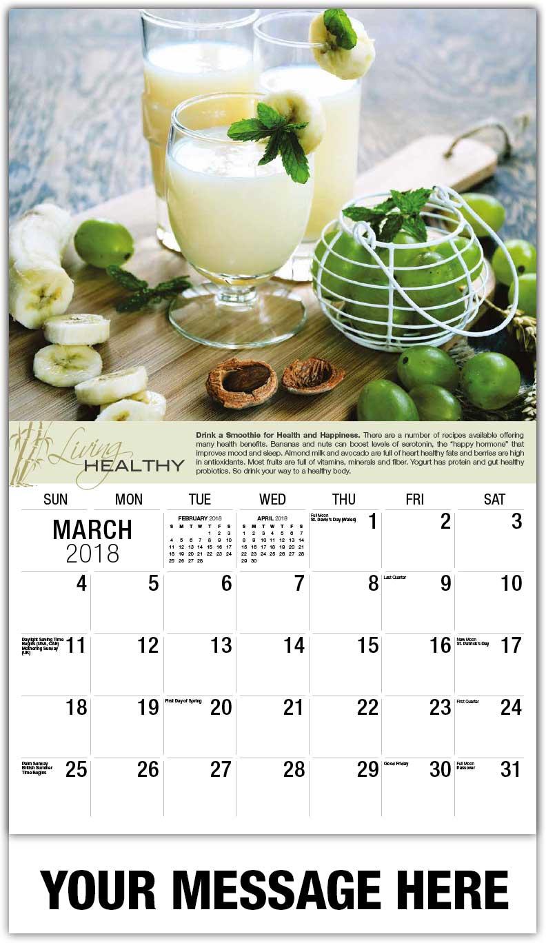2018 calendar healthy living