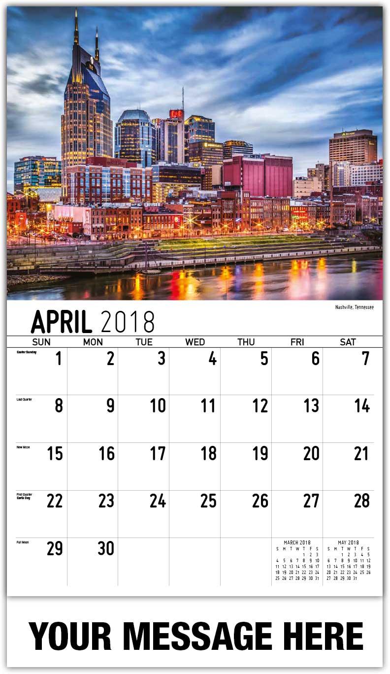 April Calendar Nashville : America scenic calendar scenes of usa