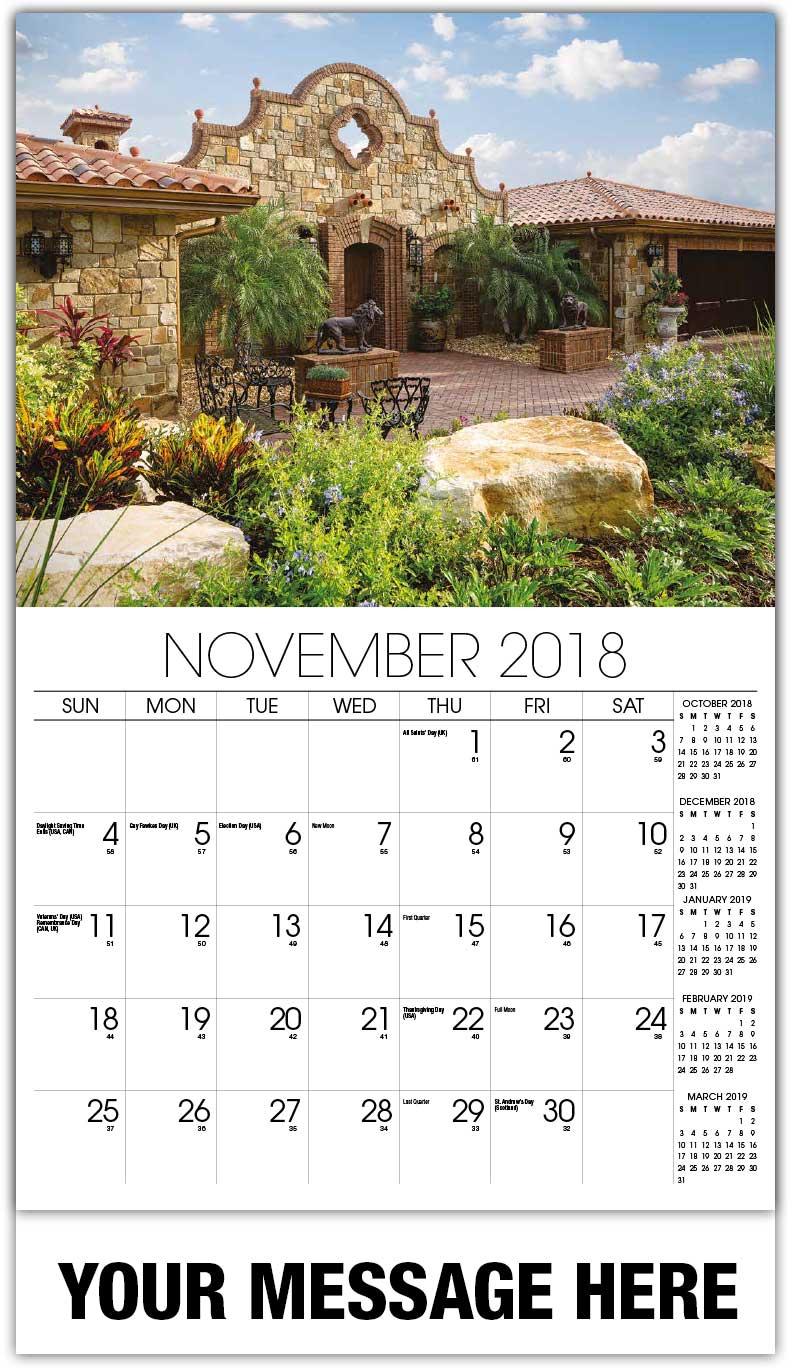 Secret Garden: Luxury Custom Home Wall Calendars