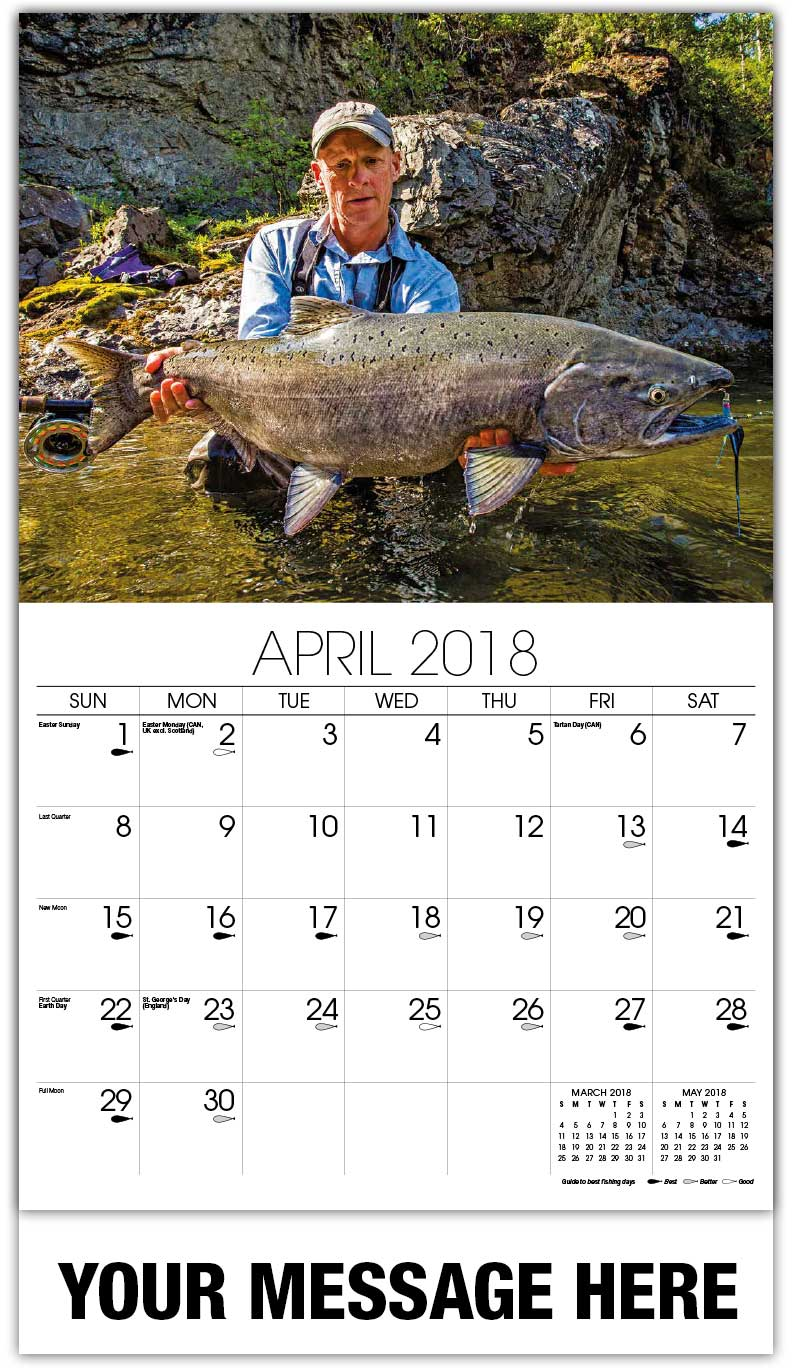 Fishing and hunting calendar business advertisign for Fishing almanac calendar
