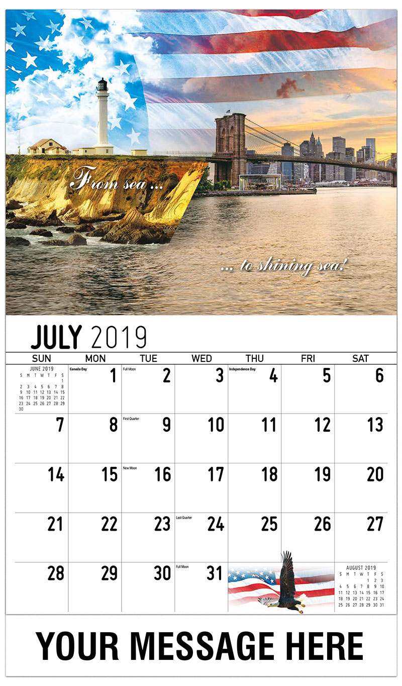 2019 Business Advertising Calendar - From Sea To Shining Sea - July