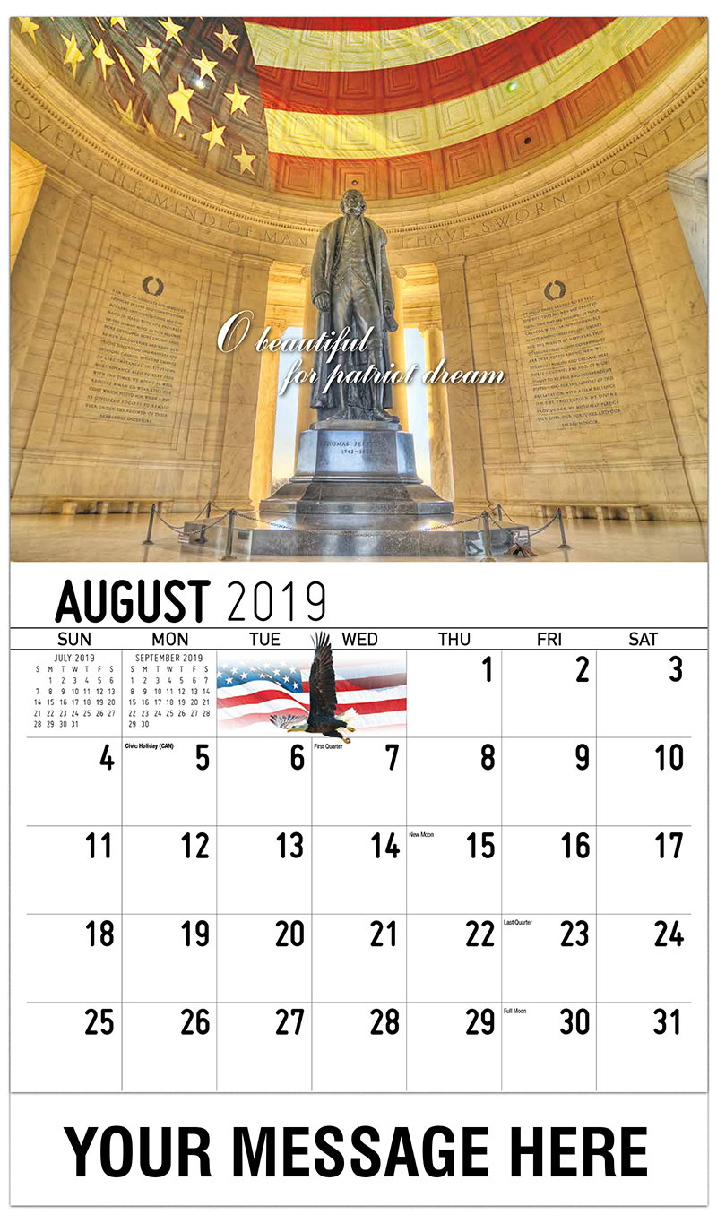 2019 Business Advertising Calendar - O Beautiful Patriot Dream - August