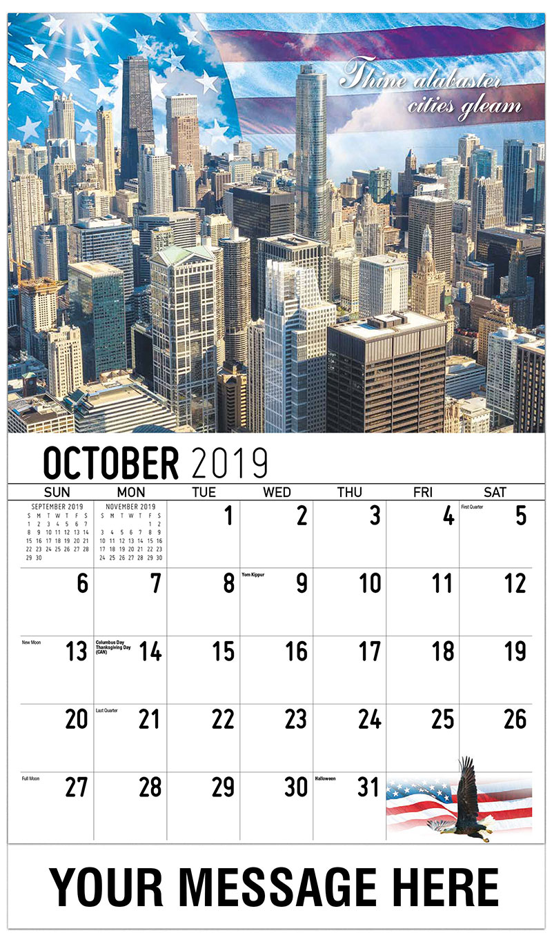 2019 Business Advertising Calendar - Thine Alabaster Cities Gleam - October