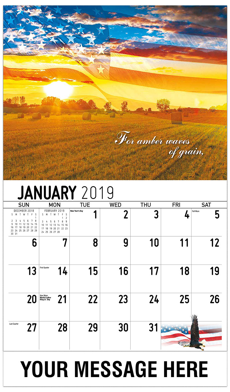 2019 Promotional Calendar - For Amber Waves Of Grain - January