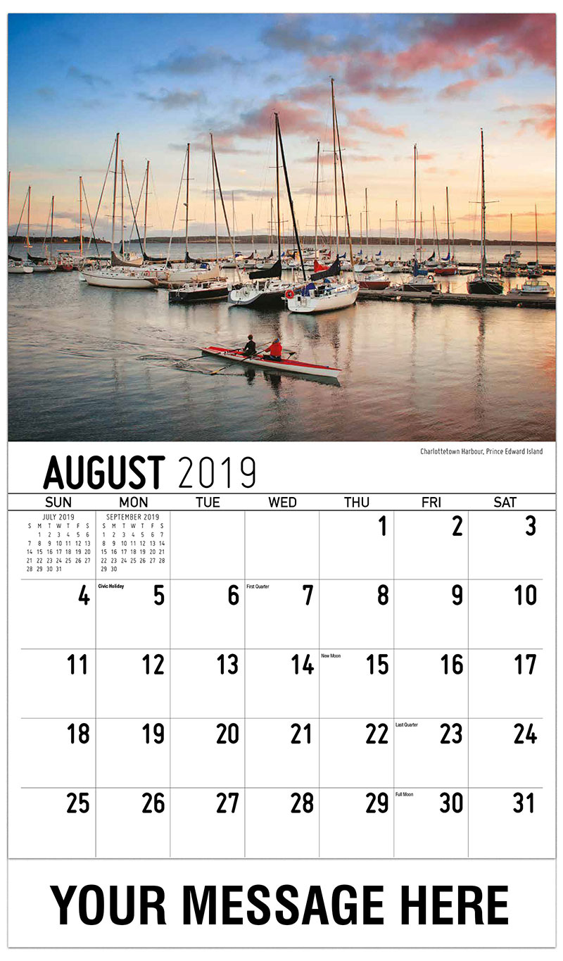 2019 Business Advertising Calendar - Charlottetown Harbour, Prince Edward Island - August