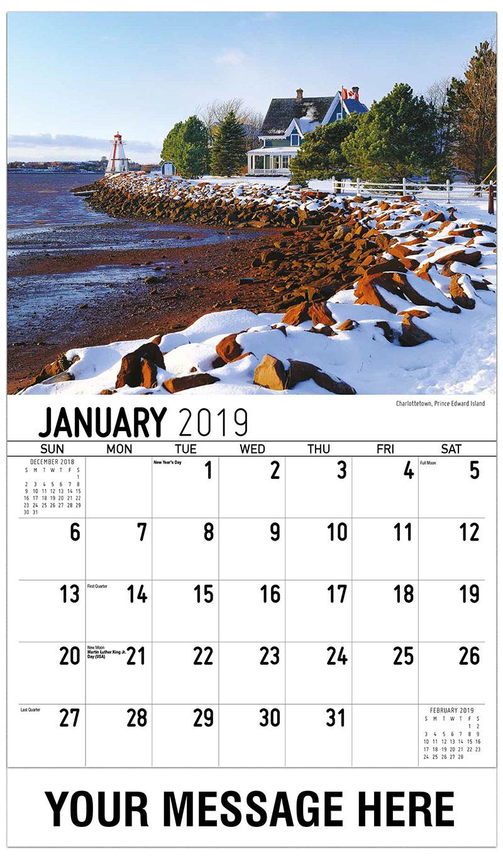 2019 Promotional Calendar - Charlottetown, Prince Edward Island - January