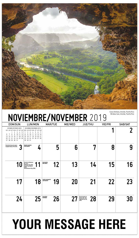 2019 Advertising Calendar - Window Cave, Arecibo, Puerto Rico / Cueva Ventana, Arecibo, Puerto Rico - November