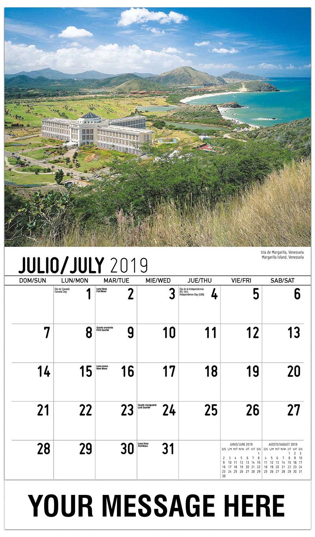 2019 Business Advertising Calendar - Margarita Island, Venezuela / Isla De Margarita, Venezuela - July