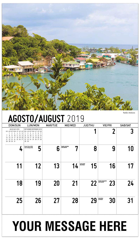 2019 Business Advertising Calendar - Roatán, Honduras - August