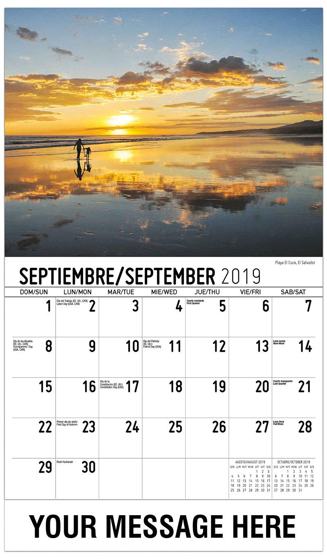 2019 Business Advertising Calendar - Playa El Cuco, El Salvador - September