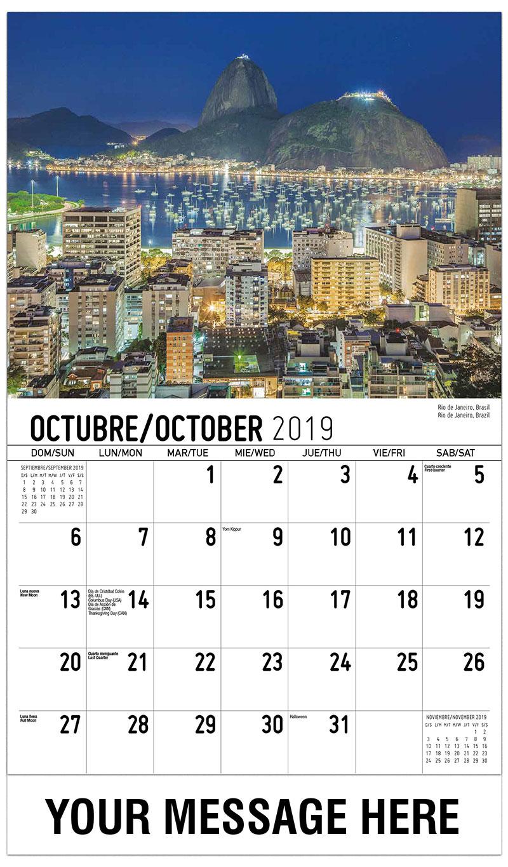 2019 Business Advertising Calendar - Rio De Janeiro, Brazil - October