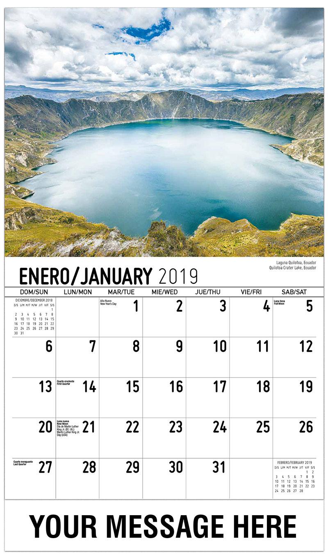 2019 Promo Calendar - Quilotoa Crater Lake, Ecuador / Laguna Quilotoa, Ecuador - January
