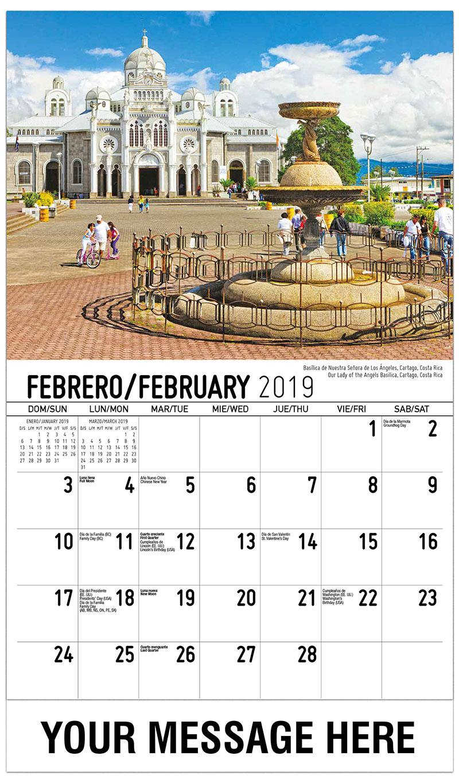 2019 Promo Calendar - Our Lady Of The Angels Basilica, Cartago, Costa Rica / Basílica De Nuestra Señora De Los Ángeles, Cartago, Costa Rica - February