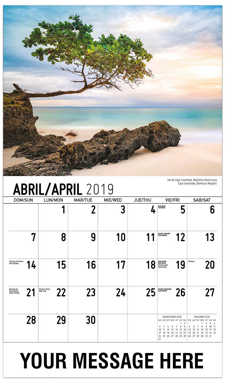 2019 Promotional Calendar - Cayo Levantado, Domincan Republic / Isla De Cayo Levantado, República Dominicana - April