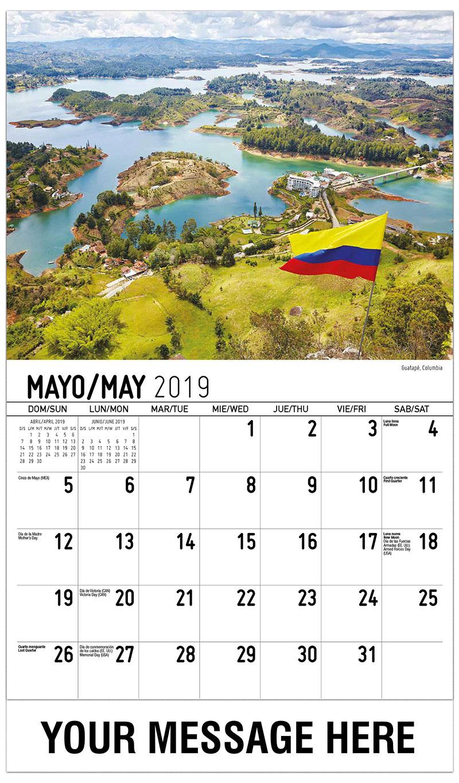 2019 Promotional Calendar - Guatapé, Columbia - May