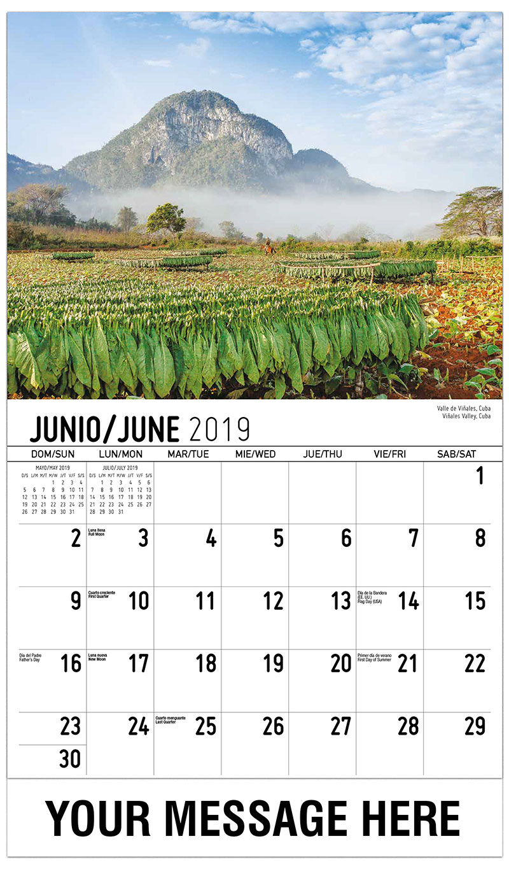 2019 Promotional Calendar - Viñales Valley, Cuba / Valle De Viñales, Cuba - June