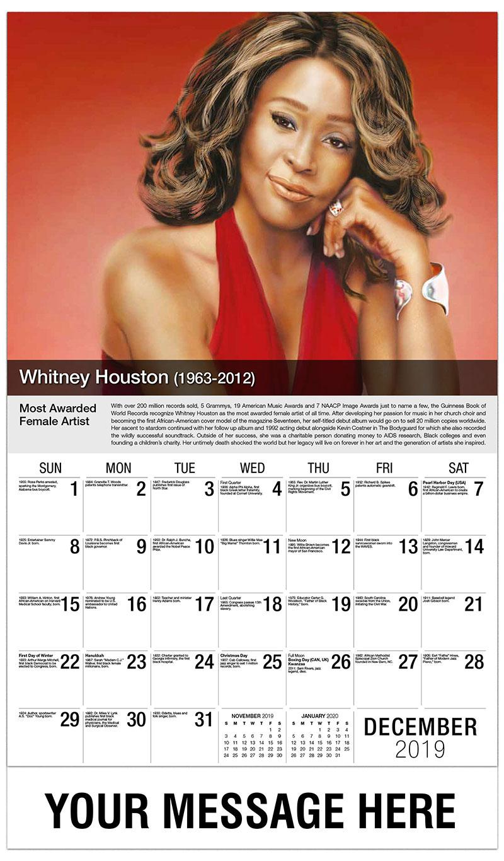 2019 Advertising Calendar - Whitney Houston - December_2019